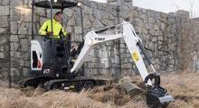 Мини экскаватор Bobcat E17z в работе
